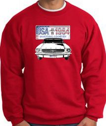 Ford Mustang Sweatshirt - USA 1964 Country Adult Red Sweat Shirt