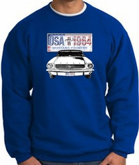Ford Mustang Sweatshirt - USA 1964 Country Adult Royal Sweat Shirt