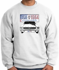 Ford Mustang Sweatshirt - USA 1964 Country Adult White Sweat Shirt