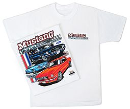 Ford Mustang T-shirt - Classic Hotrod Adult White Tee Shirt
