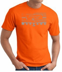 Ford Mustang T-Shirt - Legend Honeycomb Grille Adult Orange Tee