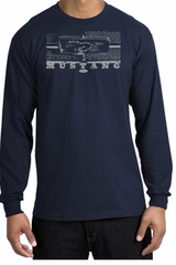 Ford Mustang T-Shirt - Legend Honeycomb Grille Long Sleeve Shirt Navy
