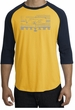 Ford Mustang T-Shirt Legend Honeycomb Grille Raglan Tee Gold/Navy
