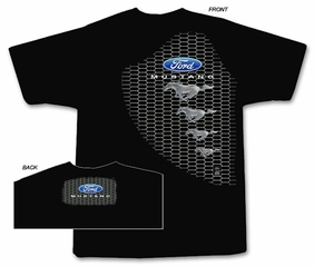 Ford Mustang T-Shirt - Mustang Grill Classic Hotrod Black Tee Shirt