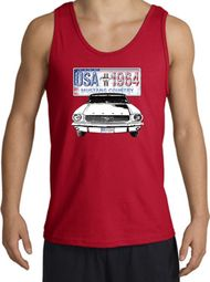 Ford Mustang Tank Top - USA 1964 Country Adult Red Tanktop
