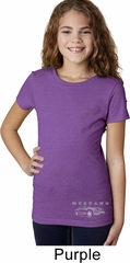 Ford Mustang with Grill Bottom Print Girls Purple Shirt