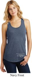 Ford Mustang with Grill Bottom Print Ladies Racerback Tank Top