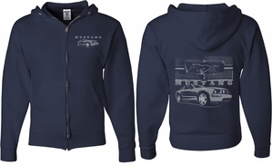 Ford Mustang with Grill (Front & Back) Full Zip Hoodie