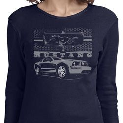 Ford Mustang with Grill Ladies Long Sleeve Shirt