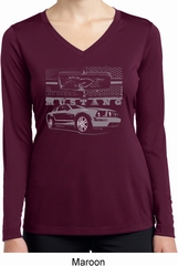 Ford Mustang with Grill Ladies Moisture Wicking Long Sleeve Shirt