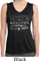 Ford Mustang with Grill Ladies Sleeveless Moisture Wicking Shirt