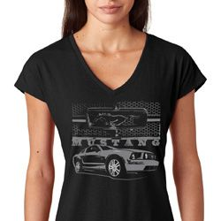 Ford Mustang with Grill Ladies Tri Blend V-Neck Shirt