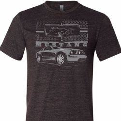 Ford Mustang with Grill Mens Tri Blend Crewneck Shirt