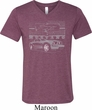 Ford Mustang with Grill Mens Tri Blend V-neck Shirt