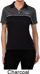 Ford Mustang with Grill Pocket Print Ladies Polo Shirt