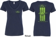 Ford Tee Green Mustang Stripe (Front & Back) Ladies V-neck