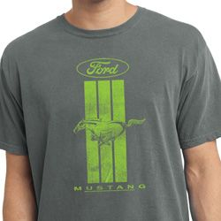 Ford Tee Green Mustang Stripe Pigment Dyed Shirt