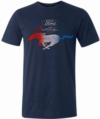 Ford Tee Mustang Red White and Blue Tri Blend Tee