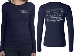 Ford Tee Mustang with Grill (Front & Back) Ladies Long Sleeve