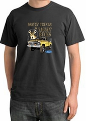 Ford Truck Shirt Driving and Tagging Bucks Pigment Dyed Tee Dark Smoke