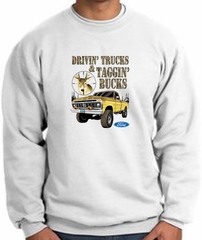 Ford Truck Sweatshirt Driving and Tagging Bucks White Sweat Shirt