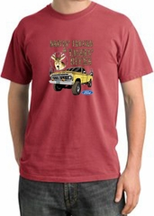 Ford Truck T-Shirt Driving and Tagging Bucks Pigment Dyed Dashing Red
