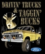 Ford Truck T-Shirt Driving and Tagging Bucks Pigment Dyed Tee Plum