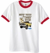 Ford Truck T-Shirt Driving and Tagging Bucks Ringer Tee White/Red
