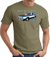 Ford Truck T-Shirt - Man's Best Friend Adult Army Green Tee Shirt