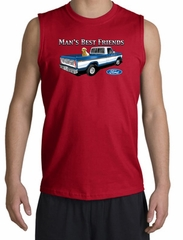Ford Trucks Shooter Shirt - Man's Best Friend Adult Red Muscle Shirt