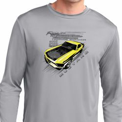 Ford Vintage Yellow Mustang Boss Mens Dry Wicking Long Sleeve Shirt