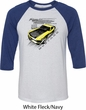Ford Vintage Yellow Mustang Boss Mens Raglan Shirt