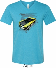 Ford Vintage Yellow Mustang Boss Mens Tri Blend V-neck Shirt