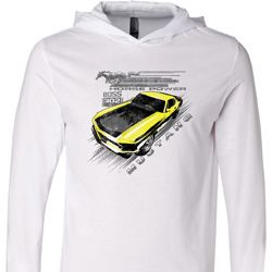 Ford Vintage Yellow Mustang Boss White Lightweight Hoodie Tee