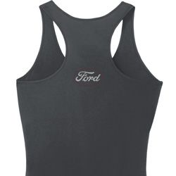 Ford White Back Print Ladies Dry Wicking Racerback Tank Top