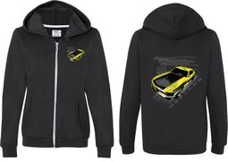 Ford Yellow Mustang Boss (Front & Back) Ladies Full Zip Hoodie