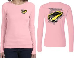 Ford Yellow Mustang Boss (Front & Back) Ladies Long Sleeve