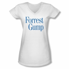 Forrest Gump Shirt Juniors V Neck Logo White Tee T-Shirt