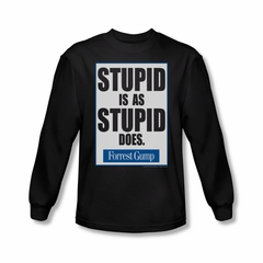 Forrest Gump Shirt Stupid Is As Stupid Does Long Sleeve Black Tee T-Shirt