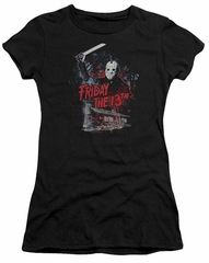 Friday the 13th Juniors Shirt Jason Attacks Cabin Black T-Shirt