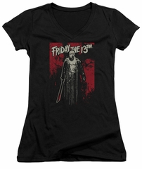Friday the 13th Juniors V Neck Shirt Death Curse Black T-Shirt