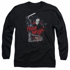 Friday the 13th Long Sleeve Shirt Jason Attacks Cabin Black Tee T-Shirt