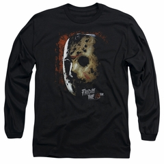 Friday the 13th Long Sleeve Shirt Jason Voorhees Mask Black Tee T-Shirt