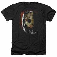 Friday the 13th Shirt Jason Voorhees Mask Heather Black T-Shirt