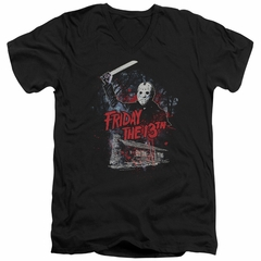 Friday the 13th Slim Fit V-Neck Shirt Jason Attacks Cabin Black T-Shirt