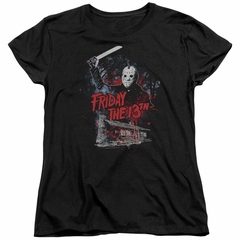Friday the 13th Womens Shirt Jason Attacks Cabin Black T-Shirt