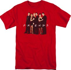 "Friends TV Show ""Cast in Black"" Adult T-shirt - Red"