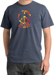 Funky 70s Peace World Peace Sign Symbol Adult Pigment Dyed T-shirts