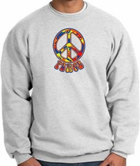 Funky 70s Peace World Peace Sign Symbol Adult Sweatshirt - Ash