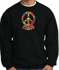 Funky 70s Peace World Peace Sign Symbol Adult Sweatshirt - Black